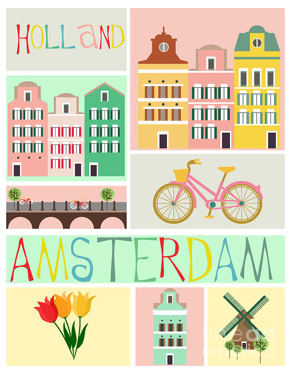 Bicycle Digital Art - Love Amsterdam by Mio Buono