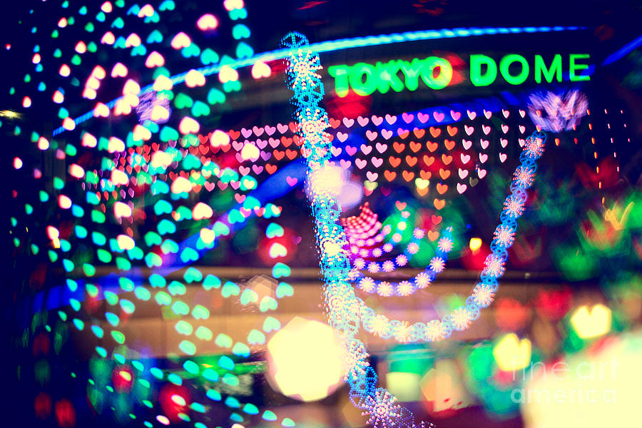 Tokyo Dome Photograph - Love And Tokyo Dome With Colorful Psychedelic Heart Lights by Beverly Claire Kaiya
