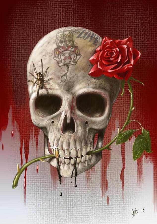Картинки скелеты красивые с розой