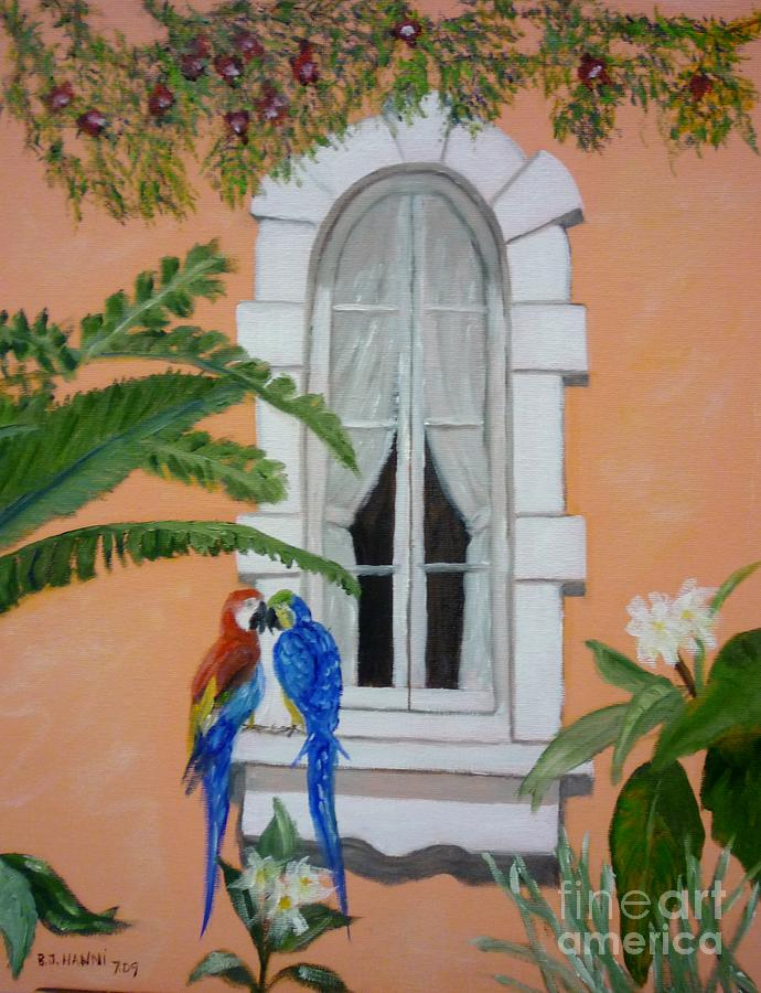Window Painting - Love At First Peck by Beverly Hanni