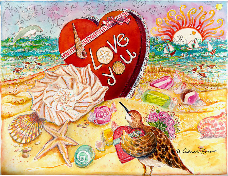 Valentines Painting - Love At The Beach by Deborah Burow
