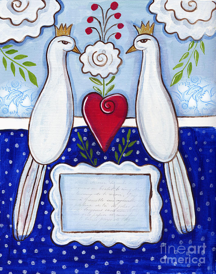 Birds Mixed Media - Love Birds by Elaine Jackson