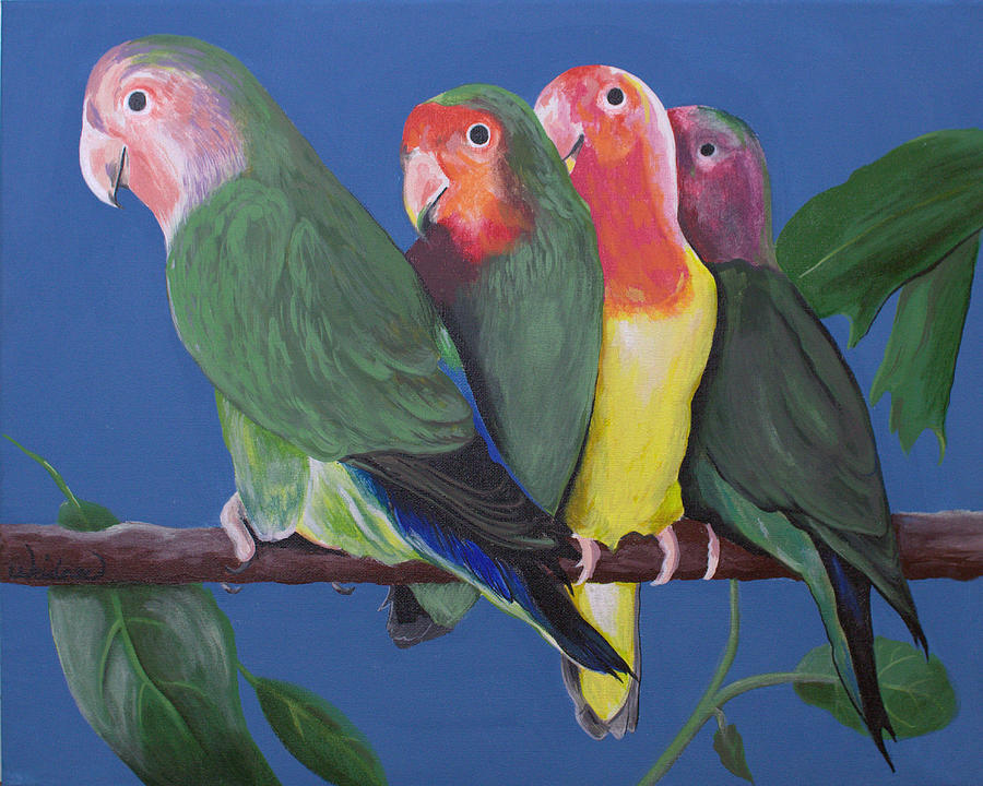 Birds Painting - Love Birds by Kathy Weidner