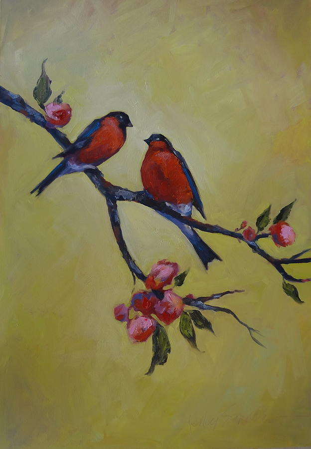 Red Birds Painting - Love Birds by Kelley Smith