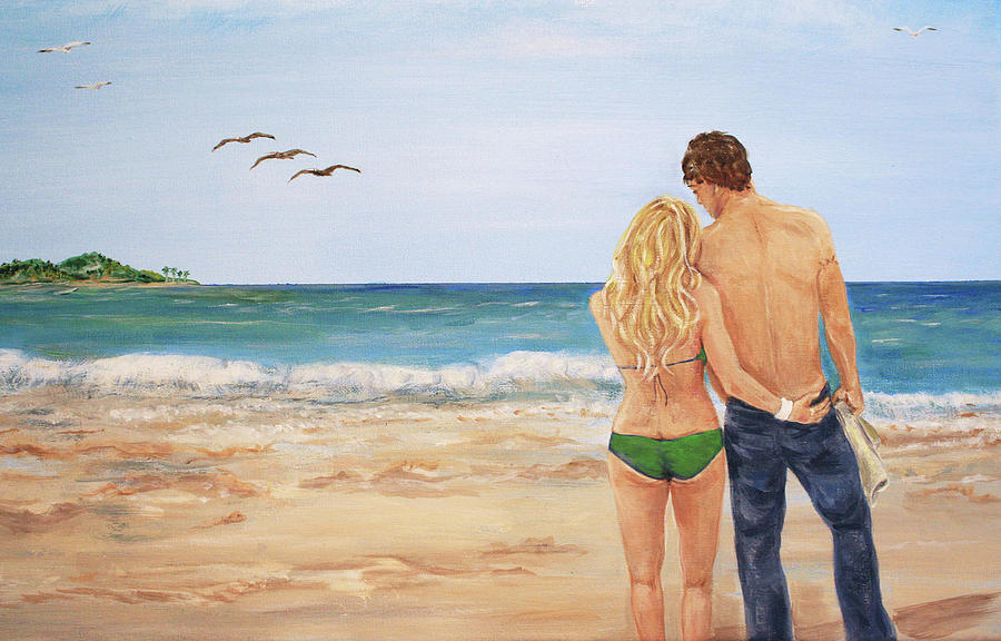 Lovers Painting - Love Birds by Nancy Chenet