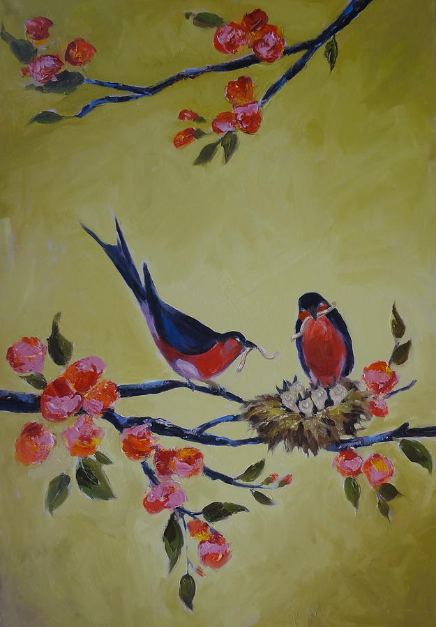 Red Birds Painting - Love Birds Nesting by Kelley Smith