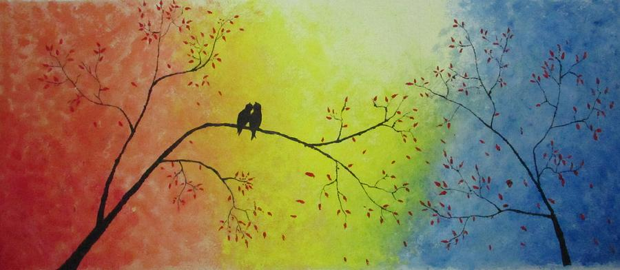 Abstract Painting - Love Birds by Vinayak Patukale