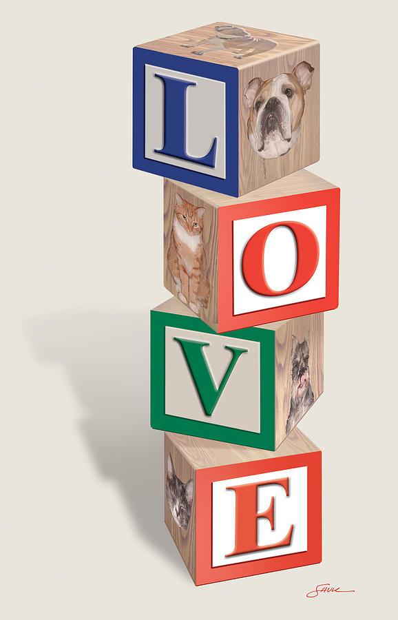 Love Digital Art - Love Blocks by Harold Shull