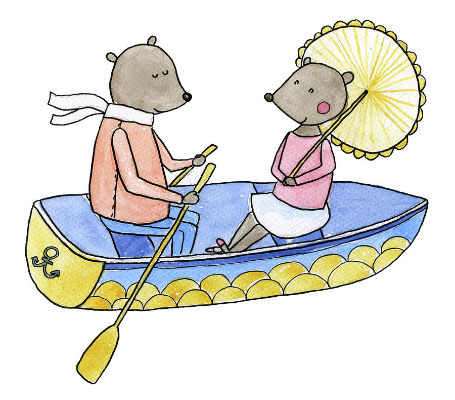 Love Boat Watercolor Illustration Digital Art by Kili-kili