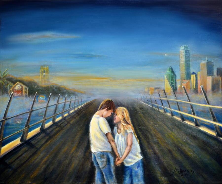 Oil Painting - Love Bridges by Maxx Phoenixx