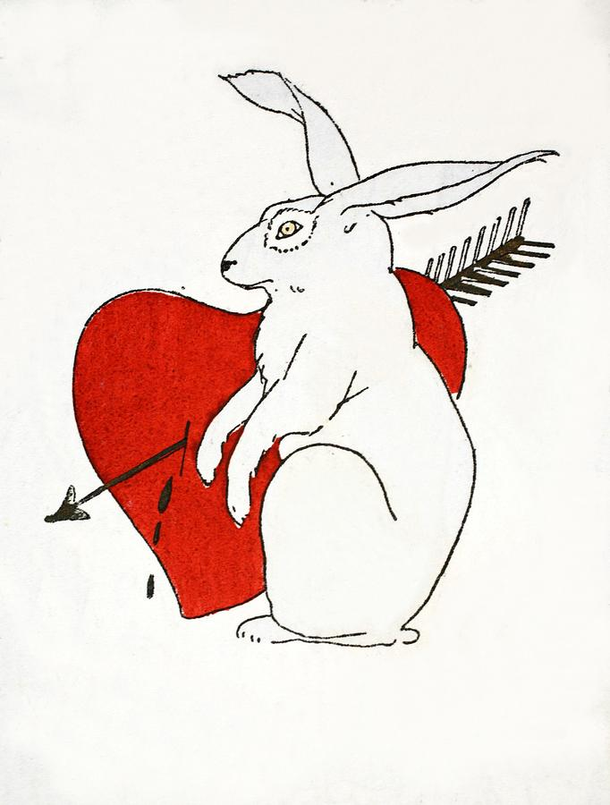Love Bunny Painting by French School