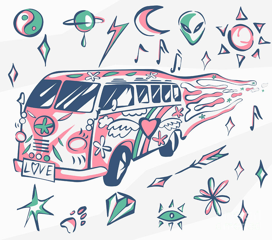 Bus Digital Art - Love Bus Vector Poster. Hippie Car by Inamel