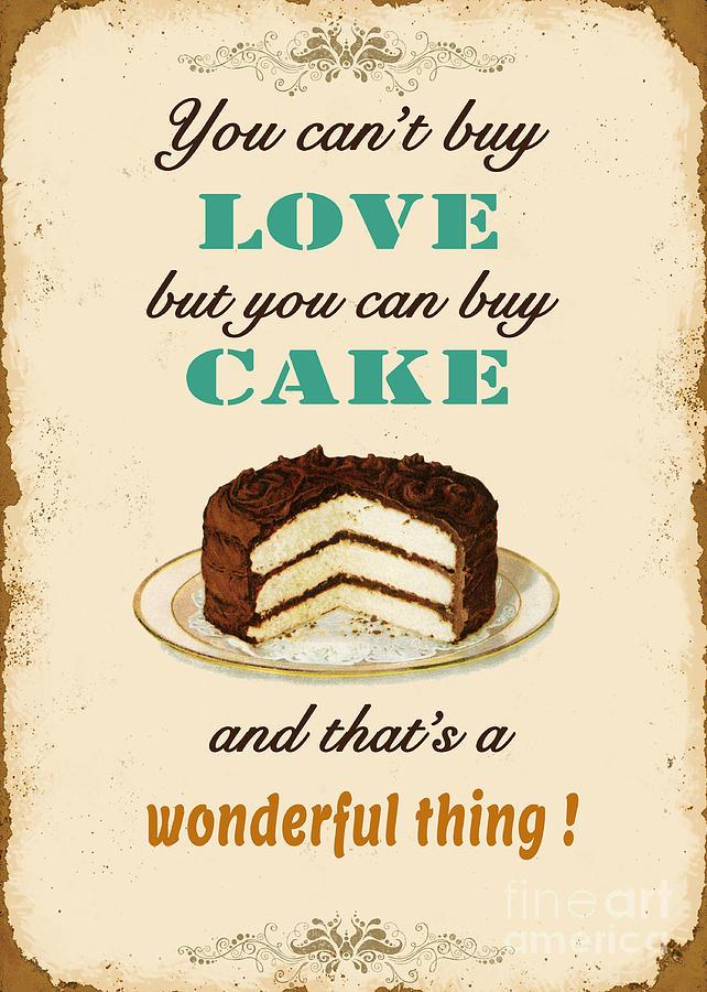 Digital Digital Art - Love Cake Typography by Jean Plout