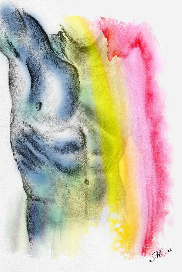 Artistic Nude Painting - Love Colors - 4 by Mark Ashkenazi