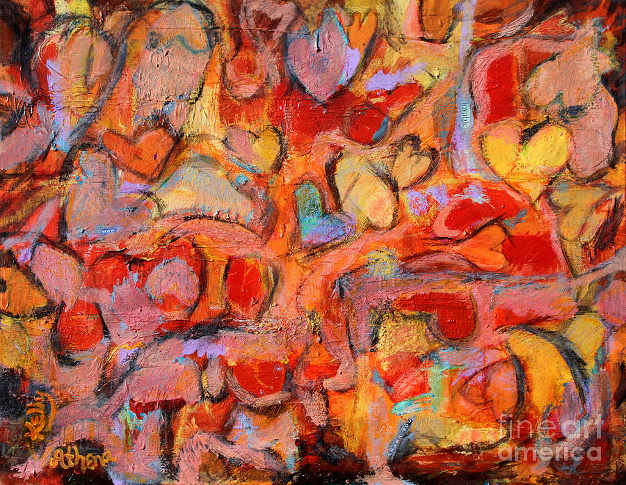 Abstract Hearts Painting - Love Everywhere by Kelly Athena
