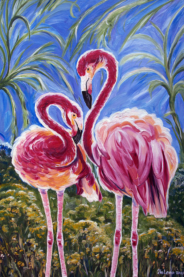 Flamingo Painting - Love Flamingos  by Yelena Rubin