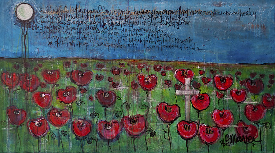 Poppies Painting - Love For Flanders Fields Poppies by Laurie Maves ART