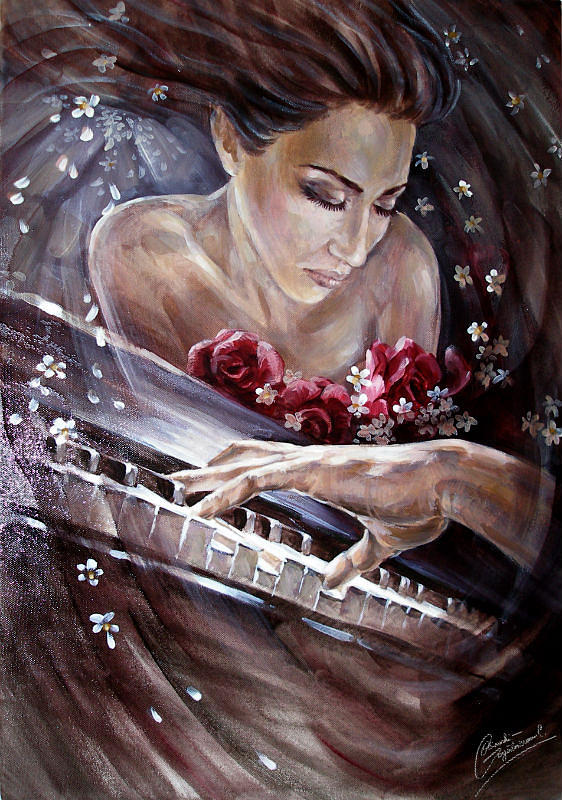 Music Painting - Love for music by Carolina Ocinschi-Gogalniceanu