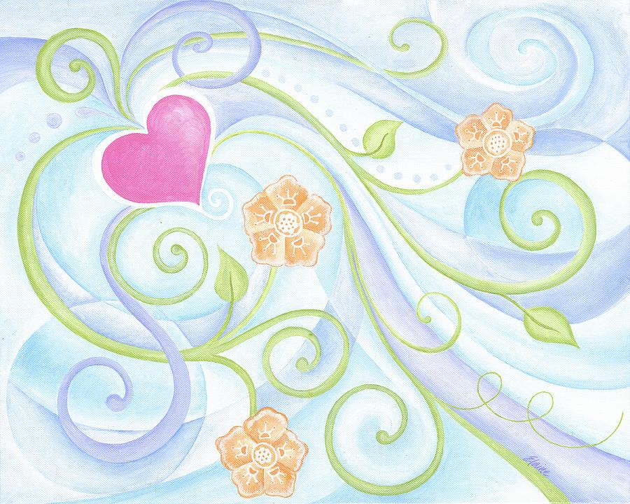 Heart Painting - Love Garden II by Elaine Allen
