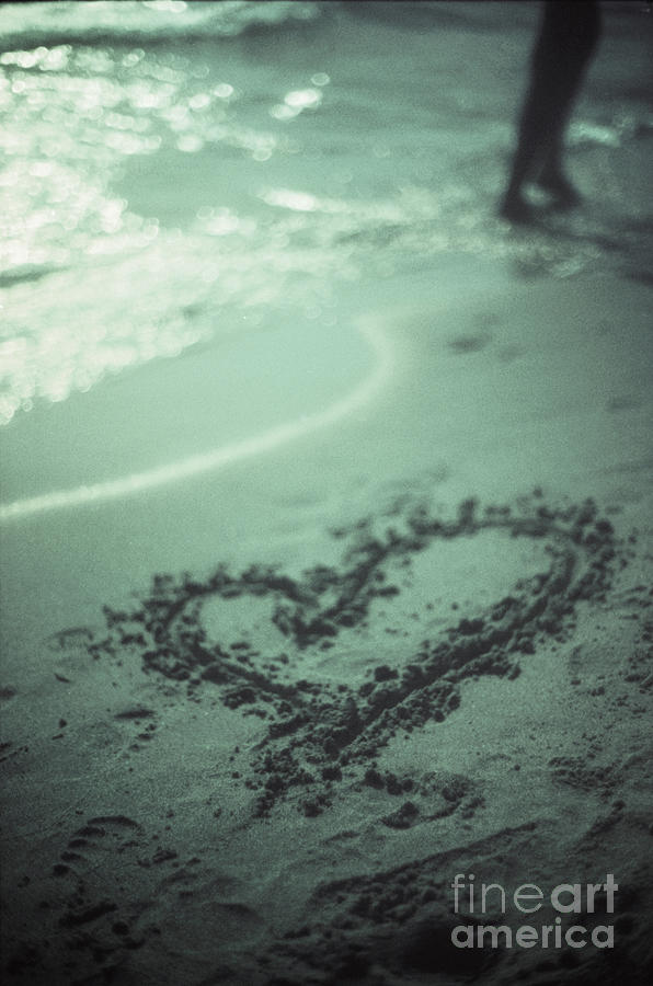 Love Photograph - Love Heart Drawn On Beach Sand At Low Tide With Ocean Sea by Edward Olive