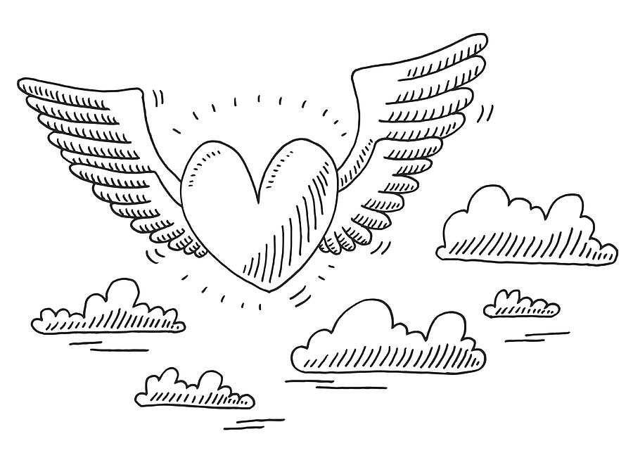 Love Heart Flying In The Air Drawing Drawing by FrankRamspott