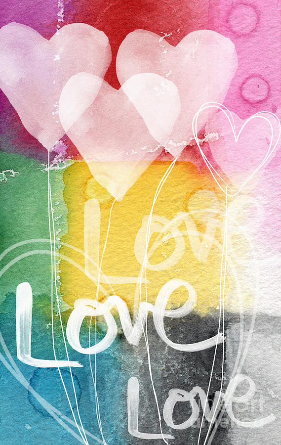 Love Painting - Love Hearts by Linda Woods