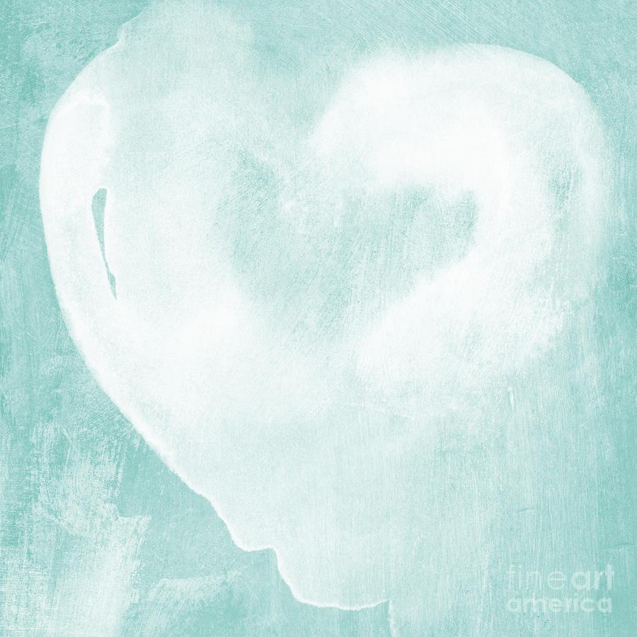 Love Mixed Media - Love In Aqua by Linda Woods