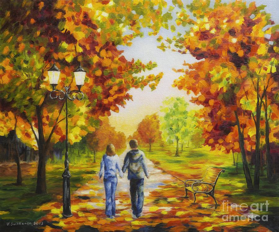 Artist Painting - Love In Autumn by Veikko Suikkanen