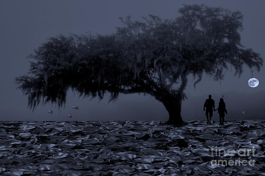 Love Digital Art - Love In Moon Light by Manjot Singh Sachdeva