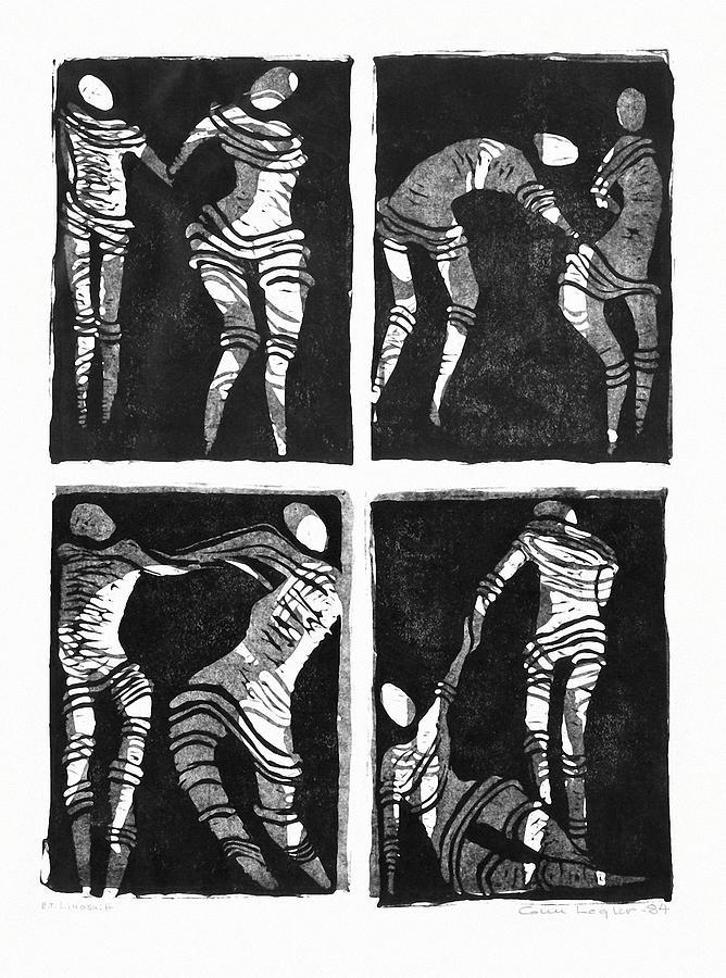 Linocut Relief - Love Is A Dance by Gun Legler