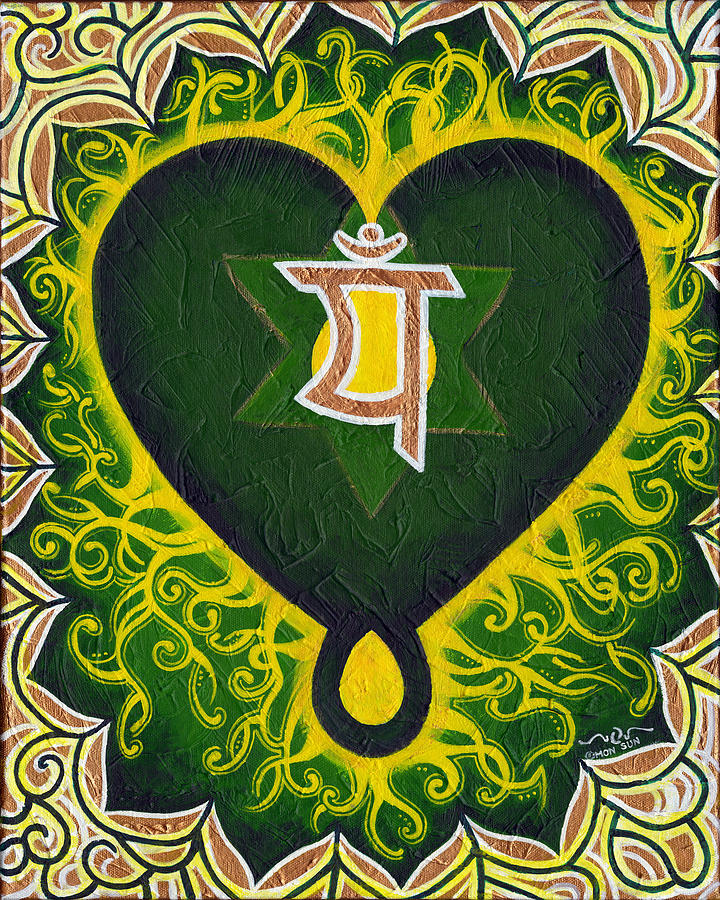 Green Painting - Love Is Spiritual Heart Chakra by Divinity MonSun Chan