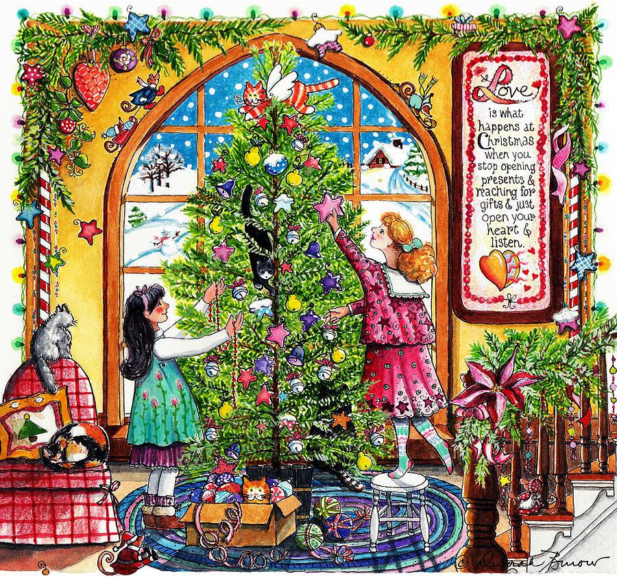 Christmas Tree Painting - Love Is What Happens At Christmas by Deborah Burow