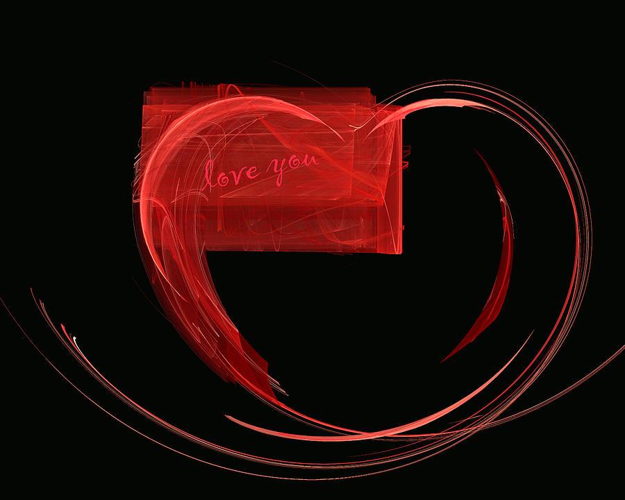 Valentine Day Painting - Love Letter Fine Fractal Art by Georgeta  Blanaru