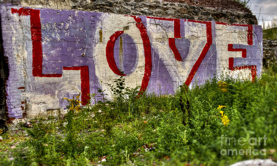Lettering Photograph - Love Love Love by Brenda Giasson