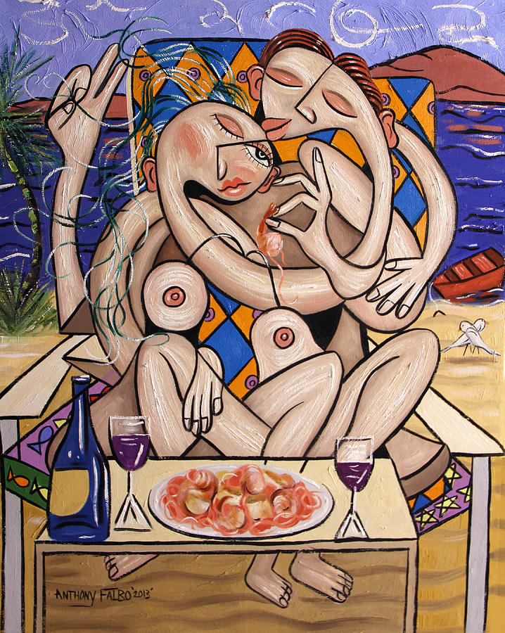 Pasta Painting - Love On A Deserted Island Shrimp Scallops And Linguine by Anthony Falbo