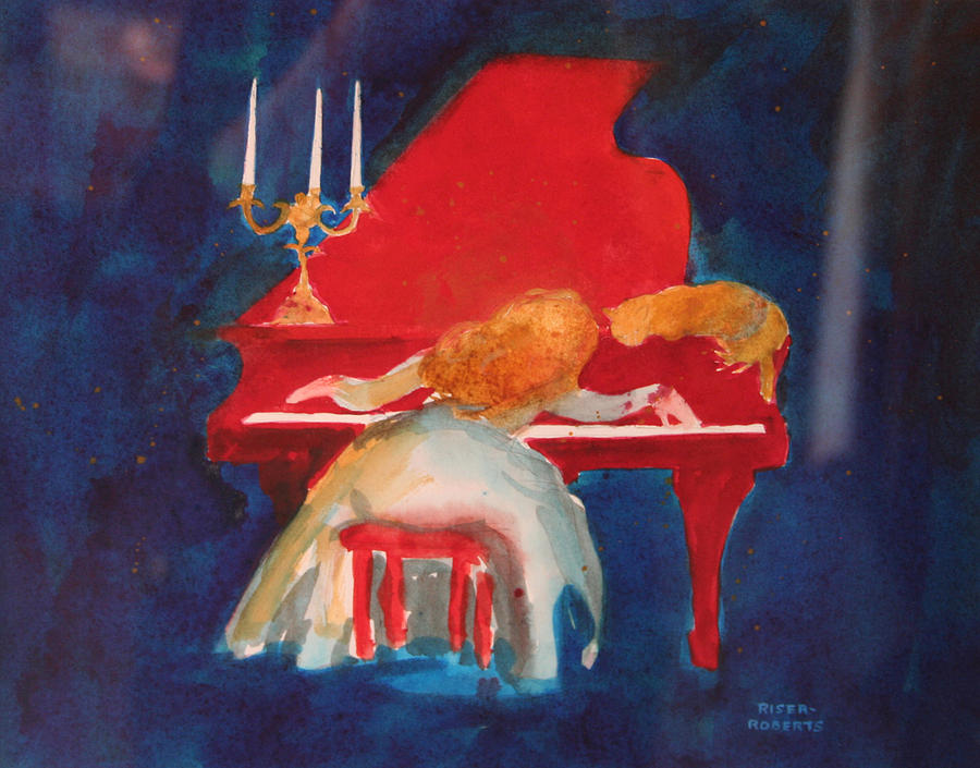 Woman And Cat Print Painting - Love On The Red Piano by Eve Riser Roberts