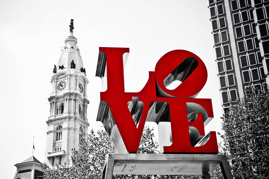Love Park Photograph - Love Park And City Hall Bw by Stacey Granger