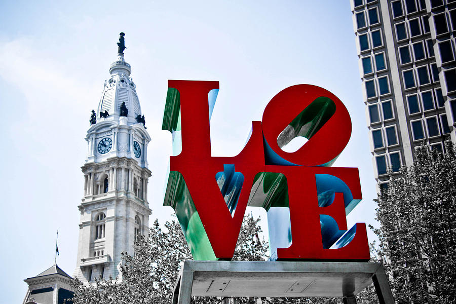 Love Park Photograph - Love Park and City Hall by Stacey Granger