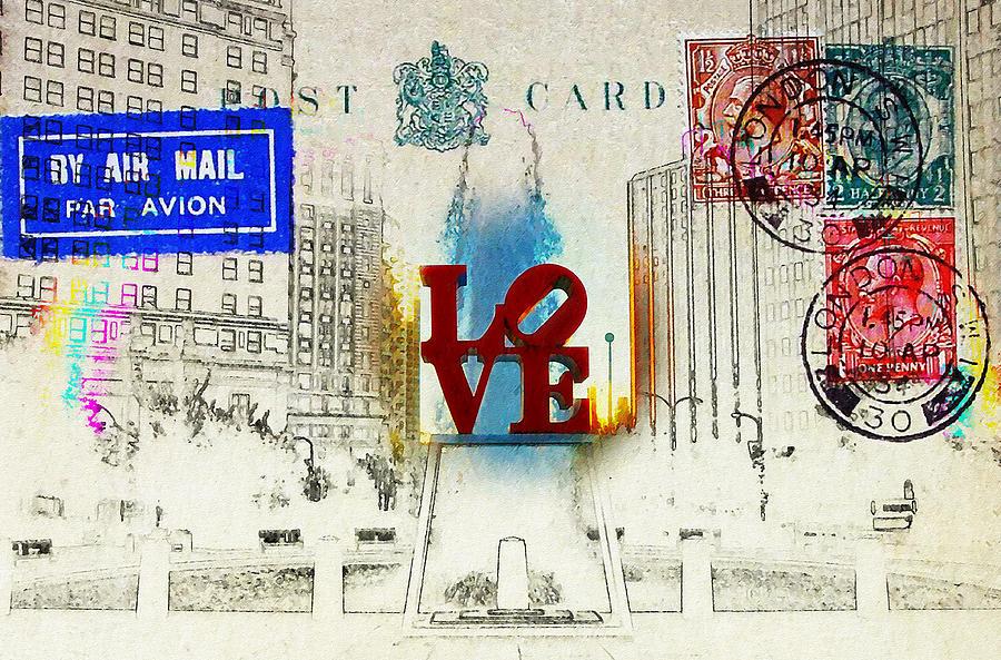 Love Park Photograph - Love Park Post Card by Bill Cannon