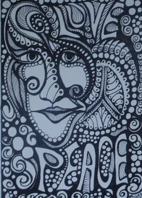 Hippie Drawing - Love Peace by Gerri Rowan