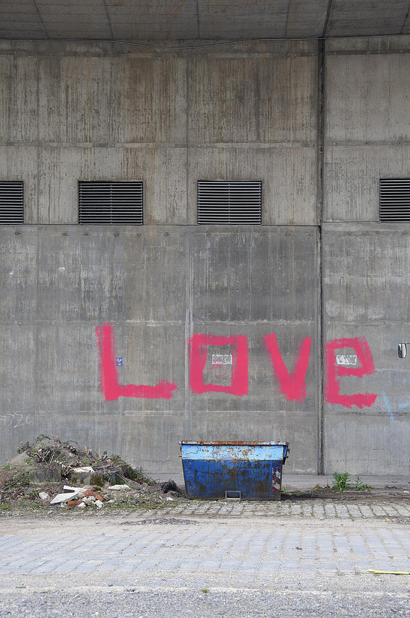 Love Photograph - Love - Pink Painting On Grey Wall by Matthias Hauser