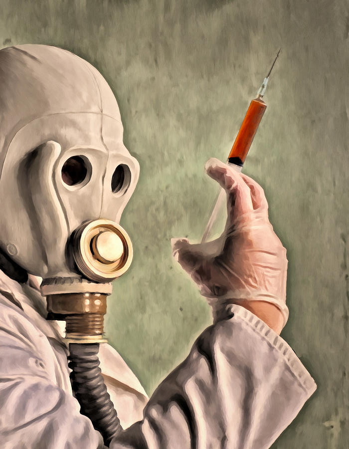 Gas Mask Painting - Love Potion by Michael Pickett