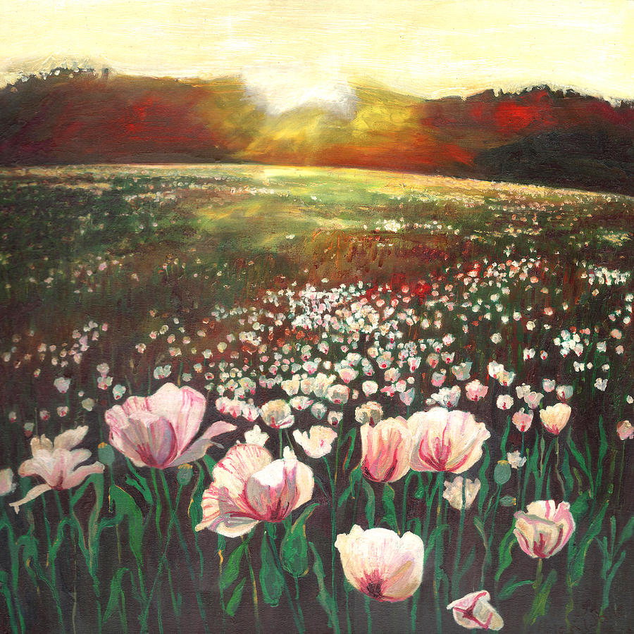 Poppies Painting - Love swept lands by Helen White
