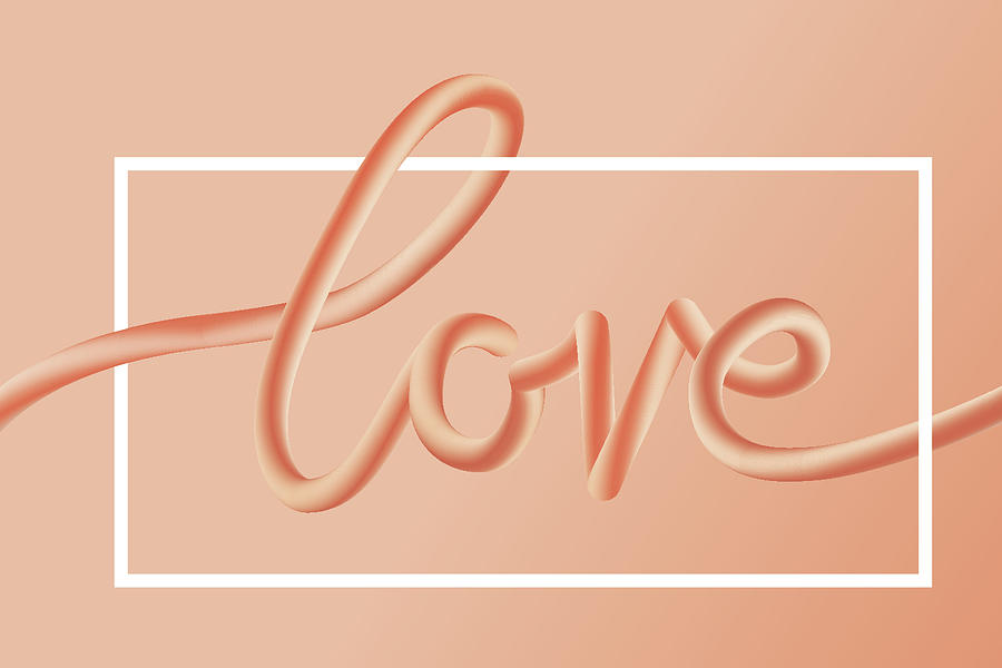 Love Text Lettering In Red Color Digital Art by Apagafonova