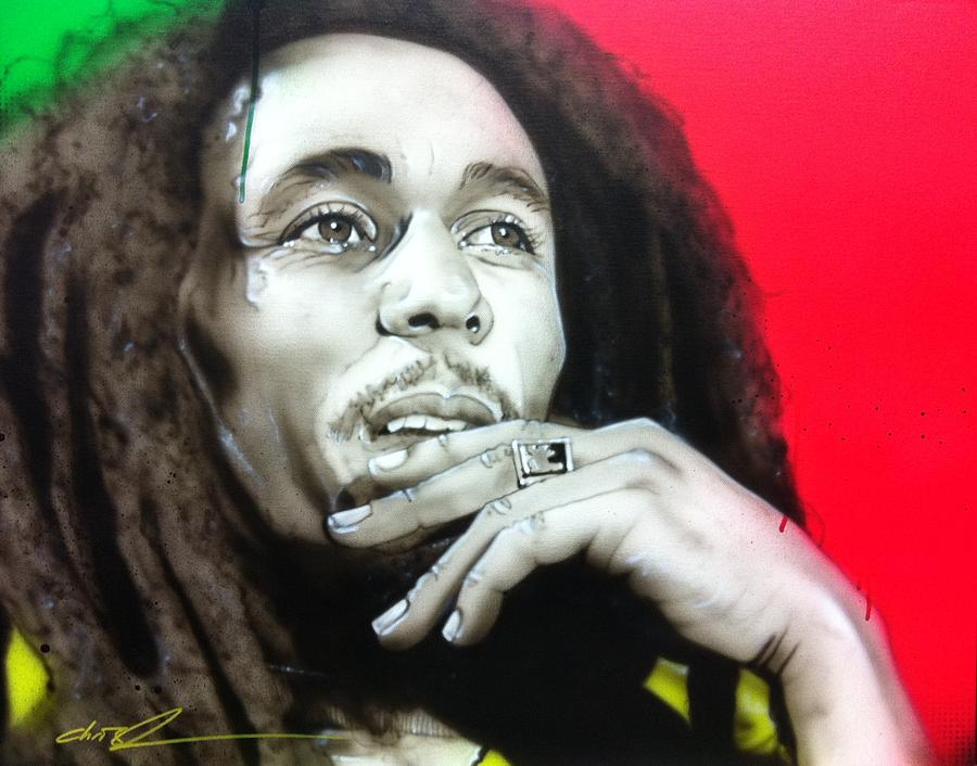 Bob Marley Portrait Painting - Love The Life You Live, Live The Life You Love by Christian Chapman Art
