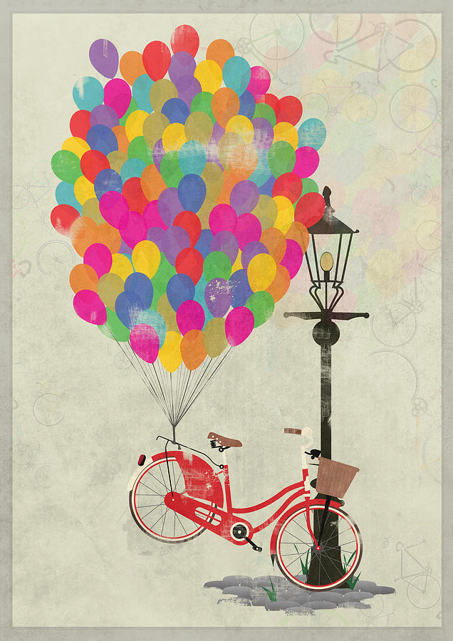 Bike Digital Art - Love To Ride My Bike With Balloons Even If Its Not Practical. by Andy Scullion
