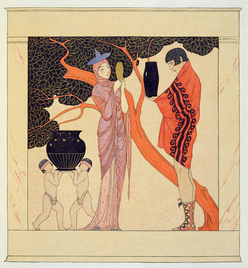 Greek Style Hero Painting - Love Token by Georges Barbier