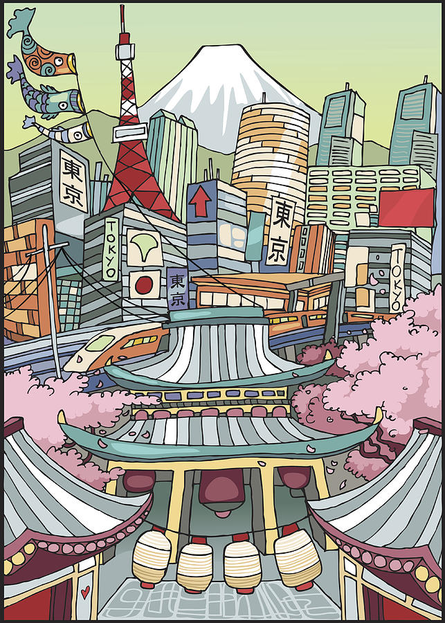 Love Tokyo Drawing by Malombra76