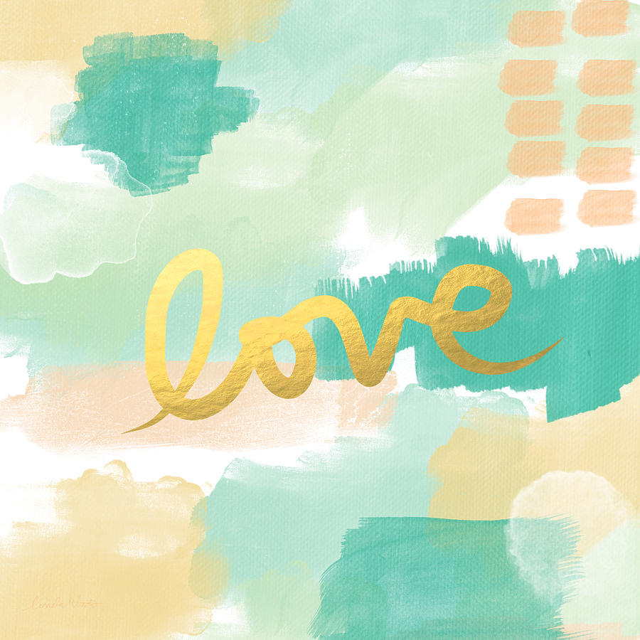 Abstract Painting - Love With Peach And Mint by Linda Woods