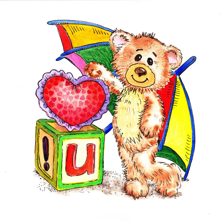 Teddy Painting - Love You Teddy Bear by Irina Sztukowski